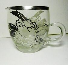 Sterling Silver Overlay FLOWERS on  Handblown CRYSTAL Glass Creamer-Vintage