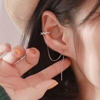 Ear Clip Cuff Long Tassel Zircon Silver Earrings Women Wedding Jewelry Charm