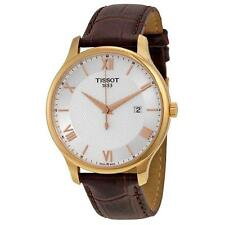 TISSOT MEN'S 42MM BROWN LEATHER BAND STEEL CASE QUARTZ WATCH T0636103603800