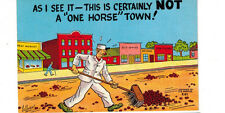 1930's comic postcard - This is Certainly Not a One Horse Town. w/streetsweeper.