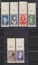 France année 1956 Célébrités XV au XX siècle N° 1066** au N° 1071** bdf réf 2518