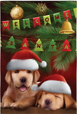 New Evergreen Christmas Flag Welcome Santa Yellow Labrador Puppy Dogs 12.5 x 18