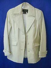 TERRY LEWIS Off-White 100% Leather Coat Jacket NEW sz XS