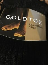 NWT 3 PAIRS Silky Nylon MENS GOLD TOE Thick N Thin Dress SOCKS SIZE 10-13