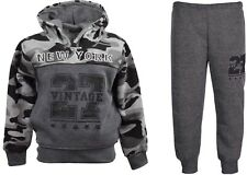 Boys Army Jogging Suits Camouflage Tracksuits Hoodie Joggers Kids Clothes 3-12yr 7-8 Years Charcoal