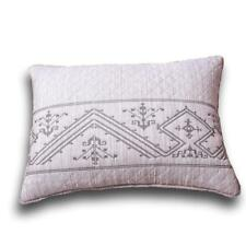 DaDa Bedding Embroider Fair Isle Purple Grey Yarn Dyed Quilted King Pillow Sham