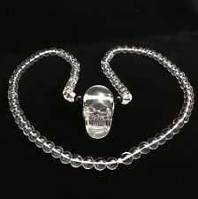 Natural Perfect Milky Quartz Crystal HandCarved Skull Pendant Necklace Realistic