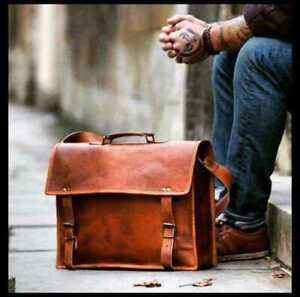 Vintage Handmade Genuine Brown Goat Leather Messenger Crossbody Satchel Bag New