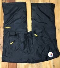 Vtg Team NFL Steelers Snowboarding Ski Snow Pants Men XL Nylon Adjustable Waist