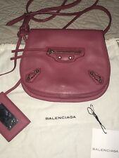 Balenciaga Deep Pink Peony Flap Leather Moto Crossbody Messenger Bag EUC