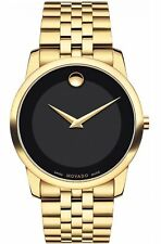 Movado 0606997 Museum Classic Black Dial Stainless Steel Yellow PVD Mens Watch