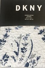 New Dkny Fabric Shower Curtain 72x72 White Floral Blue Grey Machine Washable