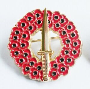 REMEMBERANCE COMMANDO DAGGER ROYAL MARINES BRITISH ARMY BADGE IN GOLD METAL