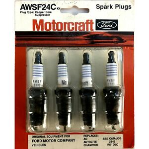 """AWSF24C Motorcraft Ford, all Makes Truck, Cars,4 Spark Plugs Card, 5/8"""", Vintage"""