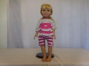 "FCM 1996 18"" Vinyl Soft Body Doll Blonde Hair Blue eyes Dressed"