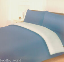 KING SIZE BED BLUE REVERSIBLE PERCALE DUVET COVER SET PLAIN DYED MID FRENCH SKY