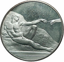 GOD Creates ADAM - SISTINE Chapel Michaelangelo Christian Silver Medal  i60778