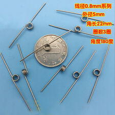 5Pcs 0.8mm Wire Diameter 5mm Outside Diameter Torsion Springs 3 Turns 180° 22mm