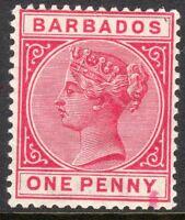 Barbados 1882 carmine 1d perf 14 crown CA watermark mint SG92