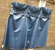 Collection Of 3 Satin Finish Midi Strapless Ella Blue Bridesmaid Dresses #659