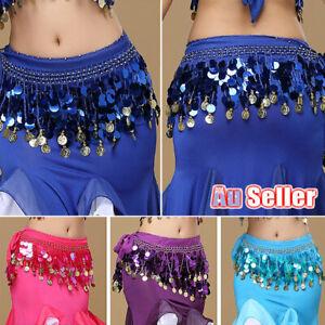 Women Chiffon dance hip skirt belt Lady Gold Coin Skirt Bling Sequins Belly Wrap