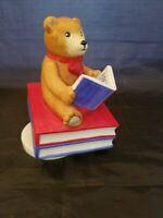 Vtg New 1983 SCHMID Gordon Fraser Teddy Bear w/ Books Music Box Figurine Ret $23