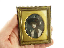 More details for antique over-painted photo~pretty woman large hat & train~bronze frame~miniature