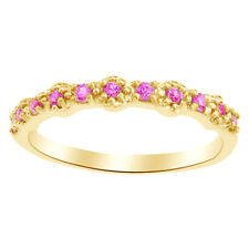Round Cut Pink Sapphire Fashion Band Ring in 14K Yellow Gold