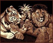 5 X 8 LION TIGER JUNGLE QUEEN AFRICAN SAFARI AREA RUG