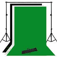 Photo Studio Background Support Stand Kit Backdrop White Black Green New UK