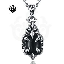 Silver stainless steel claw black crystal vintage style gothic pendant necklace