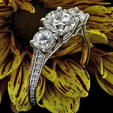 1.45 CT D/VS2 ROUND DIAMOND THREE STONE ENGAGEMENT RING 14K WHITE GOLD ENHANCED