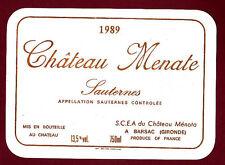 ETIQUETTE VIN - Bordeaux Chateau Menate SAUTERNES 1989
