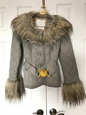 New BABY PHAT Faux-FUR Collar&Sleeve COAT~Gold Buckle BELT~Quilted Puffer JACKET