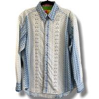 ROBERT GRAHAM Blue Print & Embroidered Men's Shirt Sz M 100% Cotton Flip Cuff