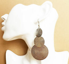 Earrings with Etched Design 9.5 cms Gorgeous Silver Colour Disc Dangle Drop