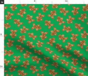 Gingerbread Man Cookie Green Christmas Cute Spoonflower Fabric by the Yard