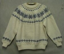 S3940 Dale of Norway Small White/Blue Snowflake Pullover New Wool Sweater