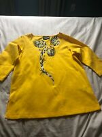 Bob Mackie's Floral Embroidered  Yellow Blouse  Size Small Wearable Art