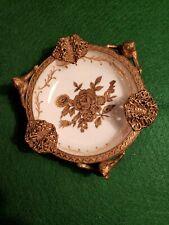 Vintage ARDCO Gold Brass Trim Ashtray Cherubs Ceramic
