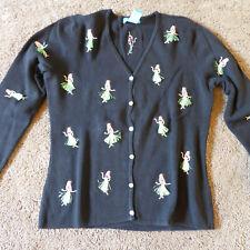 Alexandra Bartlett Womens Hawaiian Hula Girl Cardigan Sweater M Black Button