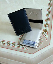 Mens Wallet in Black & Cream Faux Leather Metal Money Clip Credit ID Card Holder