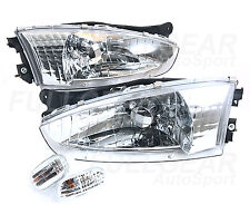 CLEAR HEADLIGHT + FRONT SIDE MARKER FOR MITSUBISHI MIRAGE 2DR COUPE 1997-2002
