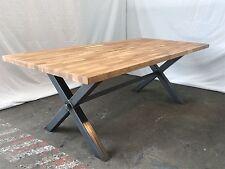 New Reclaimed Vintage rustic industrial X frame dining table Oak top