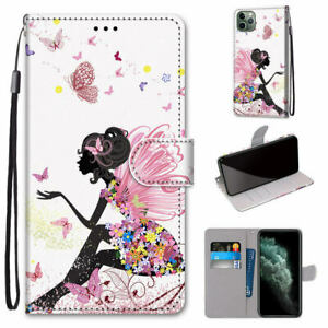 Butterfly Girl Flip Wallet Case Cover For 12 Nokia Huawei Xiaomi LG Sony Asus 1+
