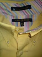 Tommy Hilfiger - Men's L 16 1/2/32-33 Yellow Dress Shirt The Lifetime Collar TLC