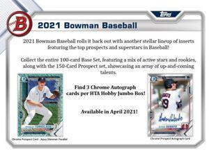 2021 Bowman Baseball HTA Hobby Jumbo 8-Box Case