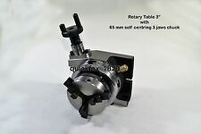 """Rotary Table 3""""/75 mm with 65 mm Chuck+ Back Plate +T Nut & bolt Kit + Allen Key"""