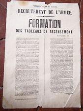 Savoie 1861 AFFICHE RELATIVE à la nouvelle formation des tableaux de recensement