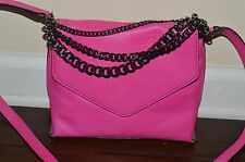 NEW MILLY Hot Pink Leather Bag Purse Crossbody Messenger Chain Accent